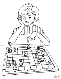 Drawing Games For Girls Girl Playing Chess Coloring Page Free