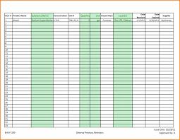 Inventory Template List Spreadsheet Report Templates