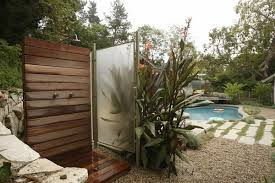 O Contemporary Patio Wood Glass Privacy Screens Outdoor Shower