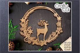 Cartoon santa claus and elk vector. Christmas Wreath Christmas Laser Cut Decor Svg File 952034 Laser Engraving Design Bundles