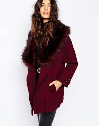 river island check coat with faux fur collar