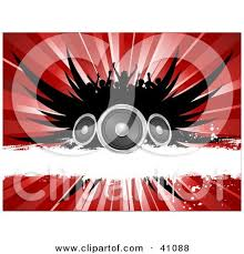 concert speakers clipart. silhouetted concert crowd over black wings speakers a white grunge bar and red burst clipart