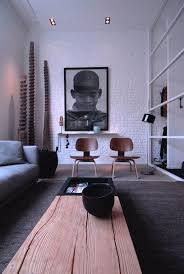 Interior Design: Black And White Living Room With Wood Element - Wooden  Interior