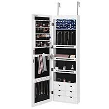 SONGMICS LED Jewelry Cabinet Armoire With 6 Drawers Lockable Door Wall  Mounted Organizer White UJJC88W Wall Mounted Jewelry Cabinet66