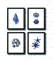 marvelous blue wall art coastal decor navy set of 4 beach metal deco