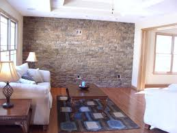 livingroom stone wall living room round brown lacquered wood from