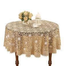 simhomsen beige embroidered lace tablecloth 60 inch round b01ik9oywc