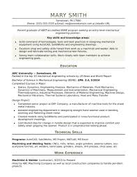 View Sample Resumes Free Sample Resume For An Entry Level Mechanical Engineer