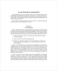Equipment Lease Agreement With Option To Purchase Template Rent To ...