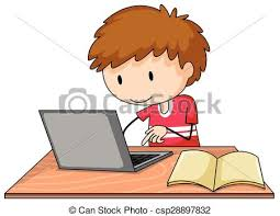 boy working on his laptop with a book lying open on the table