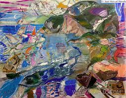 art london contemporary artists painters paintings merello veleros en el mediterraneo 81 x 100 cm mix media on canvas
