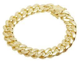 jewelry unlimited 10k yellow gold semi hollow miami cuban link box clasp bracelet 14mm