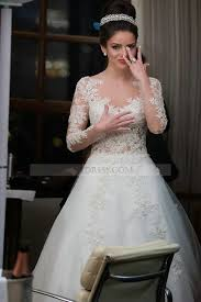 tulle illusion chapel train ivory long sleeve princess wedding