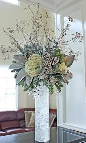 Heavenly Blooms: Merry Winter - Snowy White Winter Floral Arrangement in  wood birch tall vase