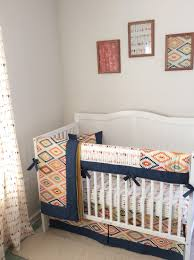 Navy Gold Mint And Cream Baby Boy Tribal Crib Set