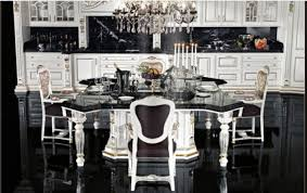 elegant white kitchen cabinet for traditional black and white kitchen design ideas with beautiful crystal chandelier combined with formal dining table