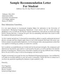 sample letter of recommendation for college application academic recommendation letter 20 sample letters templates