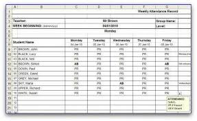 sample spreadsheet excel weekly attendance sheet template in ms excel format