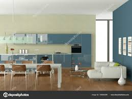 Blue Modern Kitchen With Dining Table And White Sofa Stock Photo