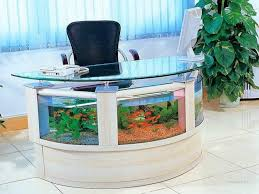 awesome lovely fish aquarium design built in modern luxury office table half circle shape using clear blue glass top modern office