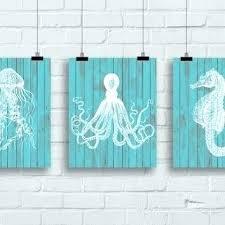 jellyfish wall art seahorse wall decor sea life art print set jellyfish art sea horse art on seahorse wall art for bathroom with jellyfish wall art seahorse wall decor sea life art print set
