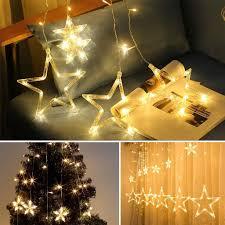 Led Stars Hanging Curtain Lights String 5 Big 4 Small Home