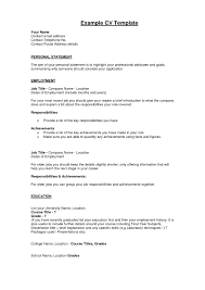 Personal Statement Resume Example Personal Statement In Cv Sample