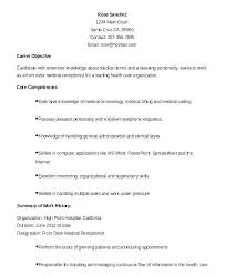 Cover Letter For Medical Receptionist New Medical Receptionist Resume Coachfederation