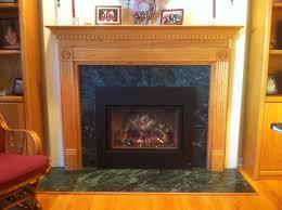 traditional oak surround green marble mendota fireplace insert