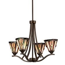 Tiffany Kitchen Lighting Shop Portfolio 4 Light Aztec Mission Bronze Tiffany Style