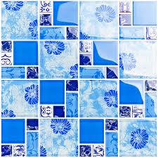 blue glass mosaic tiles kitchen backsplash bathroom wall decor shower tile designs klgt372