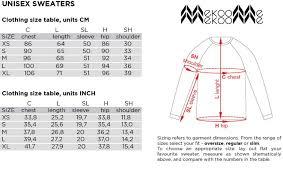 Unisex Size Chart Mekoome Structural Woolen Knitwear