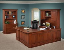 image of nice u shaped desk with hutch