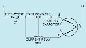 ac single phase motors (part 1) Current Relay Wiring Diagram l2 l1 r starting; capacitor start contacts current relay coil thermostat s c current sensing relay wiring diagram