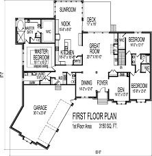 High Quality Home Plan Blueprints Angled Canted 3 Car Garage 3100 SF 3 Bedroom 3 Bath  Basement Chicago