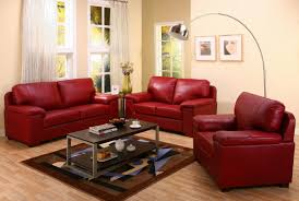 Red Leather Sofa Set For Living Room