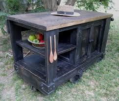 distressed black rustic kitchen island cart with open shelf storage