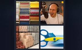 4 pics 1 word scissors cutting paper dj man on radio bricks fabric