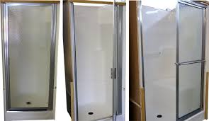 white or bone we offer glass door for 32 shower we also have the vinyl one piece wall surrounds for all of our one piece tubs