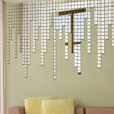 mosaic wall decor: high quality fashionable pcs lot square sliver acrylic cubes mosaic wall sticker d mirror tile