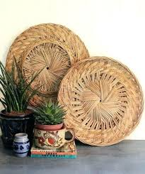 wicker serving trays rattan wicker serving tray bamboo wall basket decor shallow flat natural round large