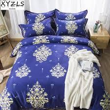 xyzls luxurious europe dark blue bedding set us au uk queen bedclothes retro jacquard twin full king double s bedding kit duvet sets black and white