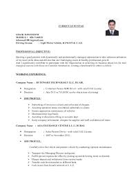 Cv For Driver Job My Resume
