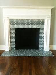 flooring terrific replacing fireplace surround tile using blue green glass tile with subway tile pattern ideas