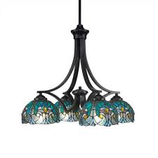 toltec lighting zilo matte black four light chandelier with turquoise crescent tiffany glass