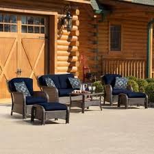 display reviews for strathmere 6 piece wicker frame patio conversation set with navy cushions