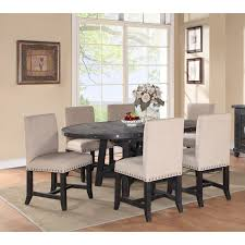 modus oval yosemite 7 piece oval dining table set with upholstered chairs walmart