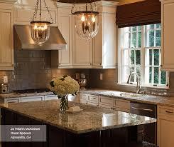 Delightful ... Off White Glazed Cabinets With A Dark Kitchen Island ...