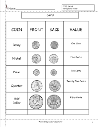 Us Coin Values Chart Counting Coins And Money Worksheets And Printouts