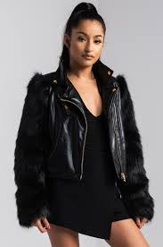 front view daring deeds moto jacket in black